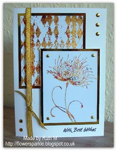 Flower Sparkle: Gold Flaked Flower With Best Wishes Card Dreamy