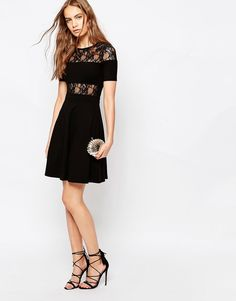 ASOSFrench Connection Linear Lace Panel Skater Dress