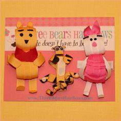 Winnie the Pooh, Tigger & Piglet Ribbon Sculpture Hair Clips