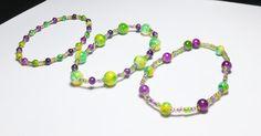 Mardi Gras Glass Beadwork Stretch Bracelet Set by tzteja on Etsy