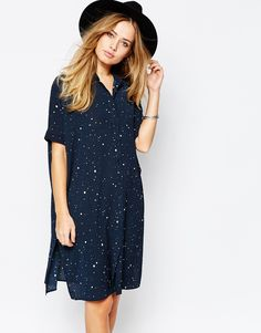 Image 1 of Vila Spotty Print Shirt Dress