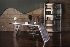 Perfect Ideas Aviator Desk Interesting Aviator Aluminum Metal Rivets Wing Office Desk