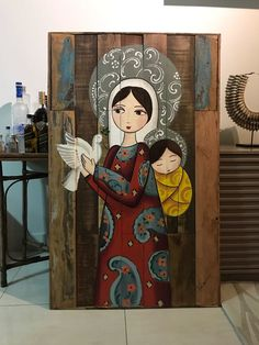 Pair of Chickens and Welcome Sign in Red Hand by barbsheartstrokes Madonna, Catholic Altar, Art Populaire, Small Canvas Art, Mary And Jesus, Country Paintings, Mexican Folk Art, Christian Art, Religious Art