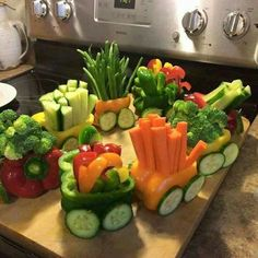 Veggie train. Cute for a kids birthday party or a baby shower.