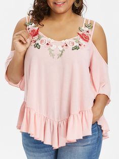 Plus Size Flare Sleeve Embroidery T-Shirt Women Tops Autumn Spaghetti Strap Sleeves Appliques T Shirt Femme Clothing Light P Plus Size Tips, Looks Plus Size, Plus Size Jeans, Clothes For Women In 20's, Dress Shirts For Women, Maxi Cardigan, Plus Size Fall Outfit, Plus Size Outfits, Robes Pin Up