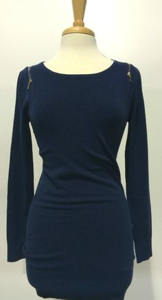 The fabric so so soft ad dreamy Zipper Shoulder Navy Long Sleeve Tunic #zipper $ 47
