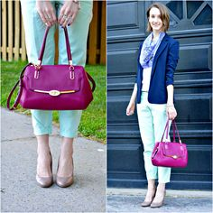 Outfit post: raspberry Coach Madison/Madeline satchel with some mint pants and a navy blazer