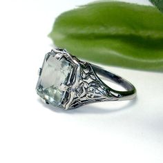 Green Amethyst and Sterling Silver filigree Ring