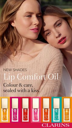 Clarins luxurious Lip Comfort Oil transforms lips from dry and damaged, to plump and luscious-while adding just a hint of lip-sparkling colour. Instant Light Lip Oil nourishes, hydrates and soothes-the natural way-with oils of mirabelle plum, jojoba and hazelnut, for lips that look naturally-shiny and appear fuller. #SealedWithAKiss