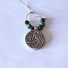 High Fired Celtic Design Pendant 35mm tall for by CraftHoundllc, $8.00