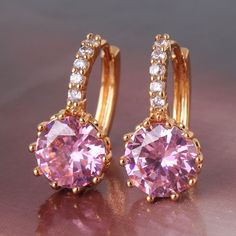 24k yellow gold filled pink topaz hoop earring fast despatch ! good quality #Huggie