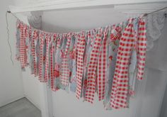 Blue Gingham instead of Red rag garland red gingham and floral garland shabby by ShabbyRoad