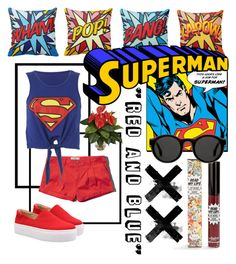 """Superman Outfit"" by janinenugraha ❤ liked on Polyvore featuring moda, TheBalm, Abercrombie & Fitch, Nearly Natural i Mykita"