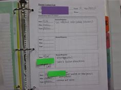 Parent Communication Binder - I like her recording form much better than what I've been doing in my own binder!