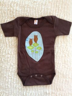 Baby Boy Clothes Onesie Brown with Owls