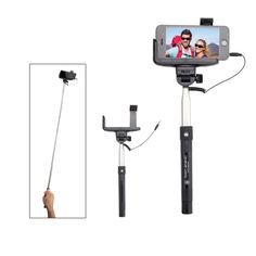 """Grab that perfect shot the easy way with this selfie stick! This powerful photography tool features an activation button on the grip that takes the picture - no Bluetooth or remote needed. Simply insert an audio jack to achieve a power connection. It measures approximately 13 1/4""""H with an extended size of 42 1/2""""H. Add your brand and create a promotional tool that's perfect for almost any smartphone user! This product does not support voice recording."""