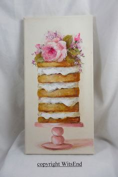 Rose Cake painting original ooak dessert art A Cake Of Many Layers. by WitsEnd via Etsy Dream Painting, Baby Painting, Mirror Painting, Hand Painting Art, Ceiling Painting, Rock Painting, Water Paint Art, Spray Paint Art, Puff Paint