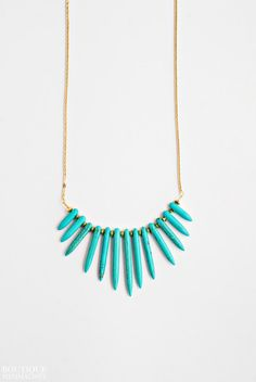 Turquoise spikes necklace by BoutiqueMinimaliste on Etsy