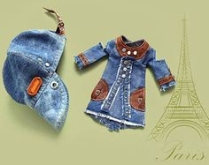 Blythe Denim Leather  Dress Peaked Cap - Blythe Clothes Doll clothing for Blythe/Pullip -  OOAK doll clothes