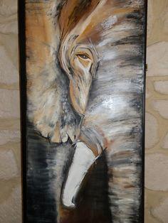 PORTRAIT D' UN ÉLÉPHANT- Peinture a l'huile sur toile Plus
