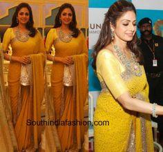sridevi at vasundhara jewellers launch in a yellow saree Peach Saree, Yellow Saree, Wedding Saree Blouse, Saree Dress, Sari Blouse, Indian Attire, Indian Outfits, Indian Clothes, Beautiful Saree