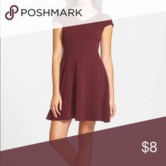 Petite-Friendly Soprano Maroon Skater V-neck Dress Bought from Nordstrom. Fit is juniors. Because of the high waist, fit and flare style, and shorter hem, this dress works well for petites. Has capped sleeves and the material is textured.i liked the fit of this dress so much I bought in multiples and in different colors but want to make more space in my closet. Soprano Dresses