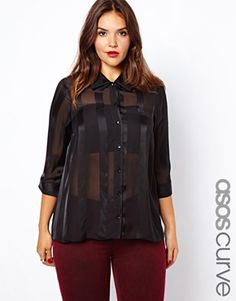 ASOS CURVE Blouse With Sheer And Solid Stripe