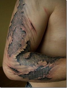 3D tattoos - Have this sort of thing with a different verse underneath.