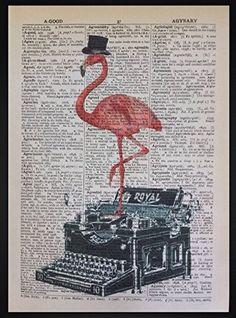 Pink Flamingo Vintage Schreibmaschine Wörterbuch drucken Seite Art Wand Bild Hipster