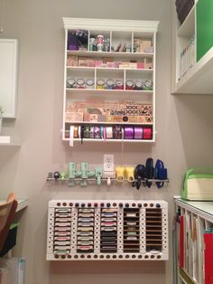 My craft room embellishment center.  Check out my craft room tour on YouTube:  http://youtu.be/N-04zGr0e24