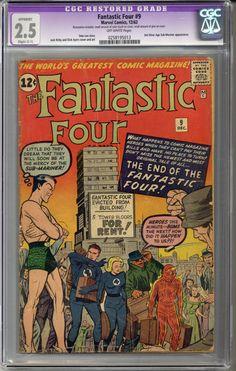 Fantastic Four #9 CGC 2.5 C-1 slight restoration