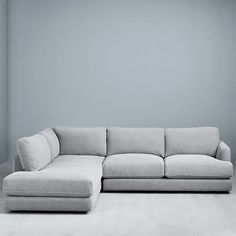 west elm haven 2 piece terminal chaise sectional Grey Sectional, Gray Sofa, Modular Sectional Sofa, Modern Sectional, Modular Sofa Uk, West Elm Sectional, Grey Couches, Sleeper Sectional, Pink Sofa