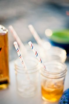 Clean out a mason jar and place ice and a drink inside. You may drink from the jar or use a straw.