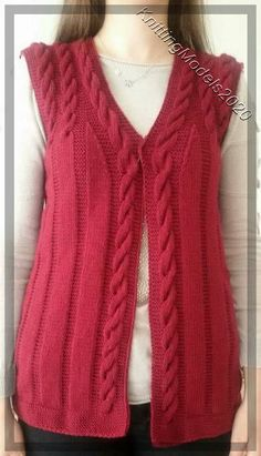 "diy_crafts-Kırmızı baston işi örgü bayan yelek ""Learn how to crochet the ballo"", ""Hand Knitting Women's Sweaters The winter season marks the b Baby Knitting Patterns, Knitting Designs, Free Knitting, Crochet Cardigan, Knit Crochet, Red Waistcoat, Knit Vest Pattern, Sweater Design, Knitting For Beginners"