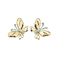 Yellow and White Gold Butterfly Stud Earrings | T.S. Jewels the online jeweller