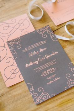 pink and gray wedding invitation from Crafty Pie Press! Like the simple but pretty design.. #wedding #invitation
