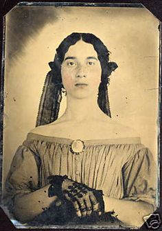 Civil War or pre Civil War Ere, tintype of young girl with great gloves and brooch, note her freckles too!