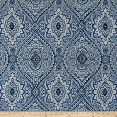 Swavelle/Mill Creek Purana Damask Ocean Blue from Screen printed…
