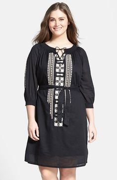 Caslon® Embroidered Cotton Peasant Dress (Plus Size) available at #Nordstrom