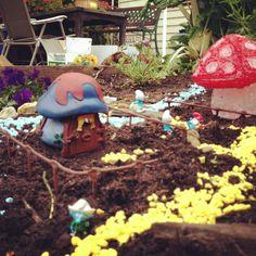 Smurf Village in our garden.