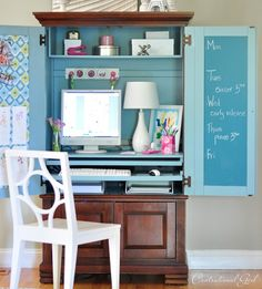Computer Armoire Makeover - Top 60 Furniture Makeover DIY Projects and Negotiation Secrets.have the armoire in the garage which would be great to makeover Armoire Makeover, Furniture Makeover, Diy Furniture, Desk Makeover, Painting Furniture, Diy Painting, Small Space Office, Small Spaces, Tiny Office