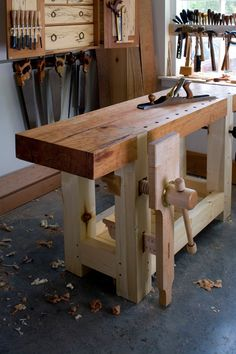 "beardtoken: Nice workbench… ""Every piece of lumber has three kinds of surfaces: edges, faces and ends. A good workbench should be able to hold your lumber so you can easily work on these three kinds of surfaces. Any bench that falls short of this basic requirement will hold you back as your woodworking skills advance."" (LostArtPress)"
