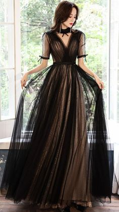 Blue Evening Dresses, Black Prom Dresses, Dress Black, Formal Dresses, Long Prom Gowns, Prom Outfits, Fantasy Dress, Designer Dresses, Ball Gowns
