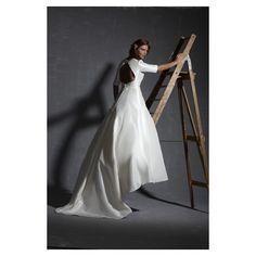 Long Sleeved V-Neck Taffeta Wedding Gown