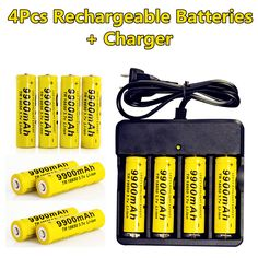 4 Pc/set Rechargeable 18650 Battery  3.7V Li-ion 9900mAh  Battery With Charging Dock For Flashlight Batery Litio Battery