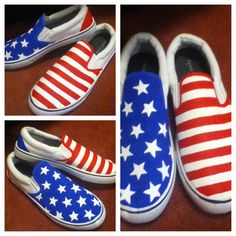 322a2576254 Custom hand-painted Vans-style American flag shoes for a friend
