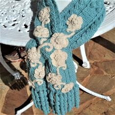 OOAK Crochet Scarf made in Cable Sage Green Alpaca & Natural Homespun Cashmere - Keyhole Closure, Spiral Fringing Free Shipping to Australia Crochet Cable, Crochet Beanie, Crochet Top, Alpaca Scarf, Black Sheep, Gifts For Mum, Crochet Scarves, Shawls And Wraps, Spiral