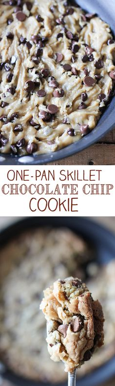 One-Pan Skillet Chocolate Chip Cookie - no bowls, no mixer, make everything in just one pan!