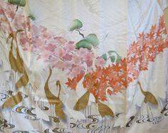 SALE FURISODE KIMONO Vintage Japanese Silk Kimono Cranes Sakura Blossom Kinsai Gold Japanese Silk Furisode Kimono Art My Personal Favorite
