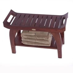 "Come see the Tranquility Teak 30"" Asia Bench With Lift Aide Arms at TeakYourShower.com today. All of our products ship for free within the contiguous USA!"